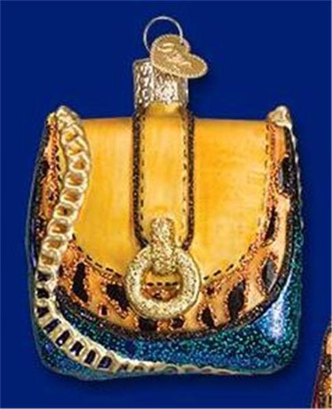 TAN AND BLUE LEOPARD CHAIN PURSE OLD WORLD CHRISTMAS GLASS ORNAMENT NWT 32215