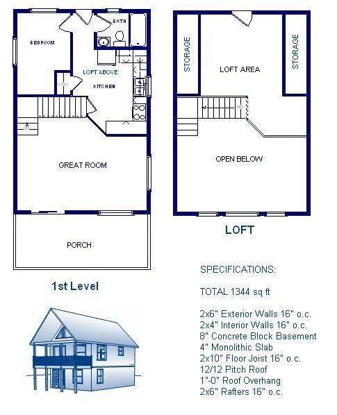 20x30 Cabin Wloft Plans Package Blueprints Material List
