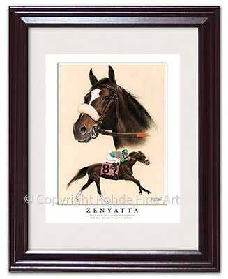ZENYATTA - FRAMED HORSE RACING ART racehorse equine portrait painting NICE