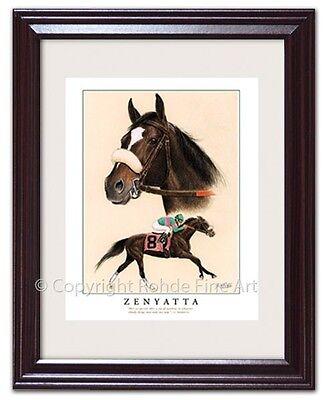 ZENYATTA - FRAMED HORSE RACING ART racehorse equine portrait painting NICE