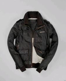 Mens Superdry Brad Bomber leather jacket size large