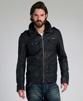 BRAND NEW RARE SUPERDRY BROWN FIELD LEATHER JACKET XXL SLIM FIT