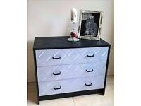 BARGAIN - Black and Silver chest of drawers