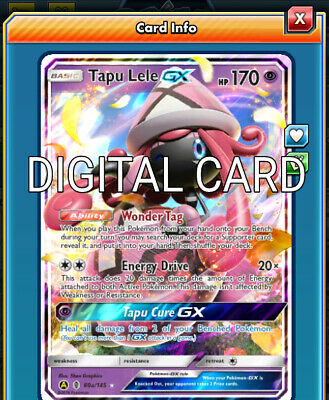 Tapu Lele GX Pokemon TCG Online PTCGO SENTFAST 60A/145