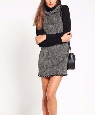 Karen millen sur mesure tweed large goutte taille droite smart frange laine 8 36