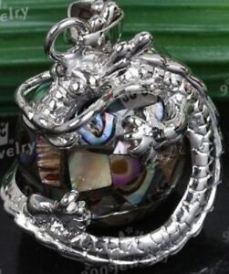 Sterling Silver Dragon Holding Abalone Sphere + Silver Chain