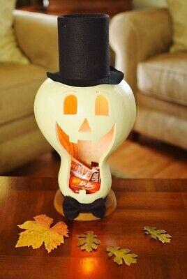 NEW!!! Primitive Folk Art HALLOWEEN SKULLY The Large Lit Candy Dish Gourd (Skully Halloween)