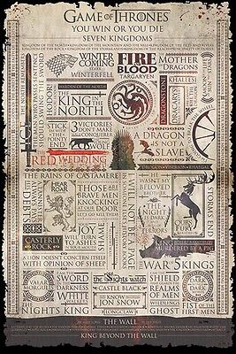 Game Of Thrones - Infographic POSTER 61x91cm NEW * quotes collage winterfell ++