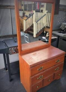 DRESSER WITH DRAWS AND MIRROR STORAGE BEDROOM FURNITURE HOME
