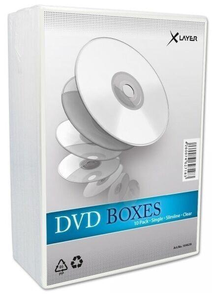 10 Xlayer DVD Hüllen slim transparent 7 mm für je 1 CD/DVD leer Hülle DVD Box