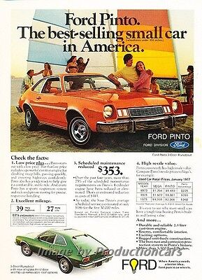 1977 Ford Pinto Best Selling on Beach - Advertisement Print Art Car Ad