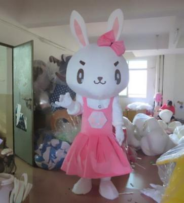 Lovely Pink Bunny Mascot Costume Suit Rabbit Cosplay Animal Dress Outfits - Adult Pink Bunny Suit