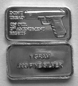50 1 Gram 999 Pure Silver 2nd Amendment Bars