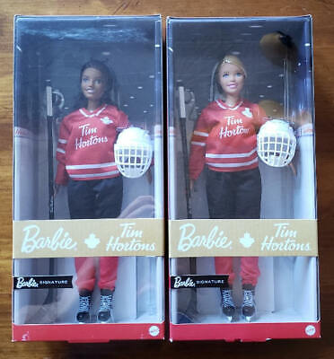 2020 MATTEL BARBIE TIM HORTONS HOCKEY DOLLS SET OF 2 BLONDE & BRUNETTE IN-HAND