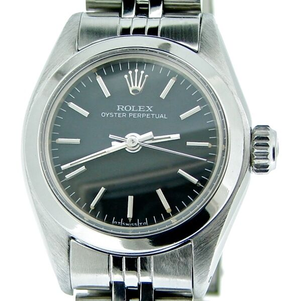 Ladies Rolex Stainless Steel Oyster Perpetual Watch Jubilee W/black Dial 6718
