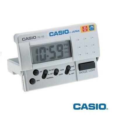 Casio New PQ-10D Small Silver LED Digital Travel LCD Display Alarm Clock PQ-10-8