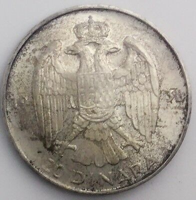 1938 YUGOSLAVIA SILVER  NICE LUSTROUS COIN TONING