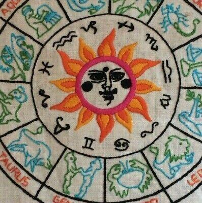 vintage embroidered needlepoint astrology / zodiac signs sampler