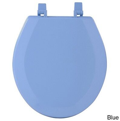 Wood Toilet Seat Round Decorative Blue Colored Close Lid Best Wooden
