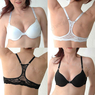 32 34 36 38 40 Sexy PERFECT Fit Semaless Lace Front CLOSE RACERBACK Plunge BRA