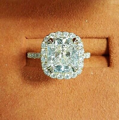1.70ct Natural Cushion Halo Pave Diamond Engagement Ring - GIA Certified