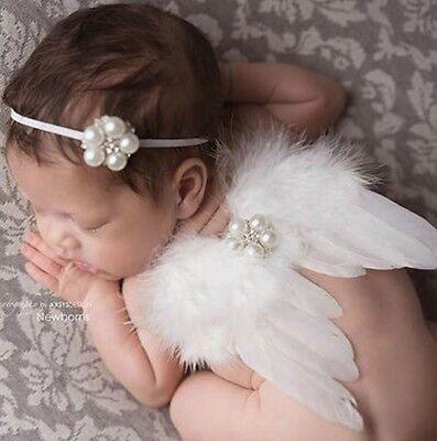 Rosa Engel Flügel Kostüm (Baby Fotoshooting Kostüm 2-tlg. Flügel  Kleiner Engel 0-6 Monate weiß rosa)