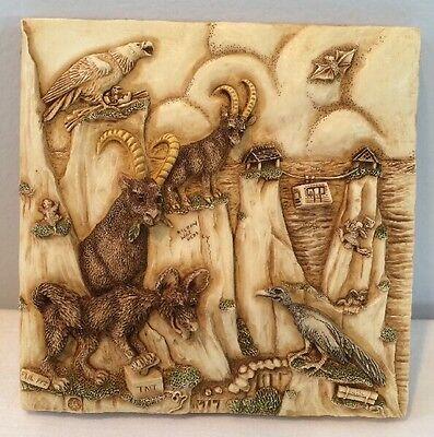 NIB Harmony Kingdom Picturesque Tile Figurine Noah's Park Cliff Hangers #PXND2
