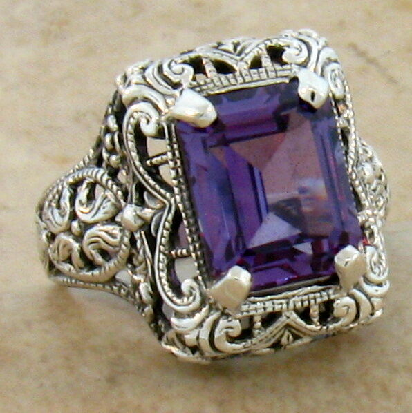 4 Ct COLOR CHANGING ALEXANDRITE ANTIQUE STYLE 925 STERLING SILVER RING Sz 10 #33