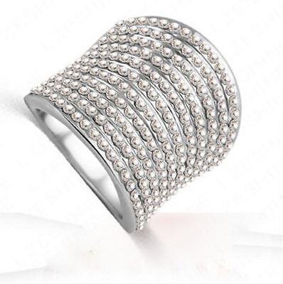 Damen Ring Fingerring Gradient österreichischen Kristall Hochziet Traumring(16)