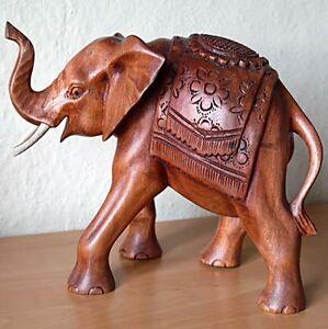 NEU großer indischer Elefant Holz Glücks Elefant 19