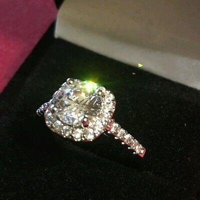 2CT Moissanite 18K White Gold Finish Diamond Engagement Ring 18k White Gold Moissanite Ring