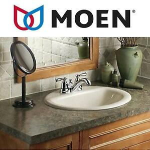 NEW MOEN 2 HANDLE BATHROOM FAUCET BANBURY, INCLUDES POP UP DRAIN, CHROME FINISH 102195014