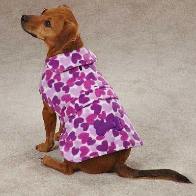 Heart Fleece Dog Jacket Vest Barn Coat PURPLE Heart Bone Applique XSmall