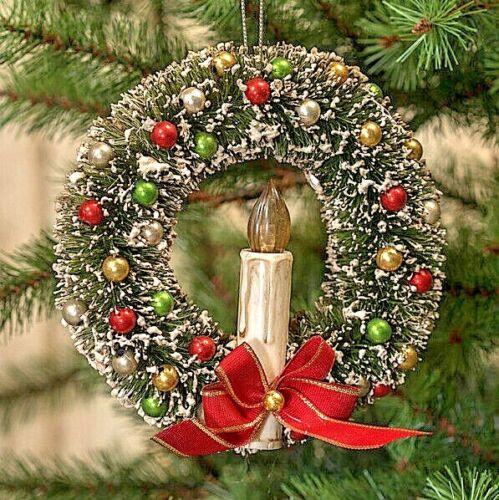 "Ragon House Retro  6"" BOTTLE BRUSH WREATH W/ CANDLE Christmas Authorized Dealer"