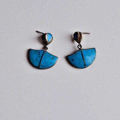 Vintage sterling silver vivid blue turquoise inlay Dangle Pierced Earrings