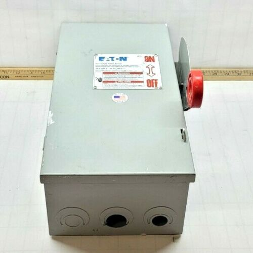 EATON 30 AMP FUSIBLE SAFETY DISCONNECT SWITCH 600 VAC 3 POLE 20 HP DH361FGK