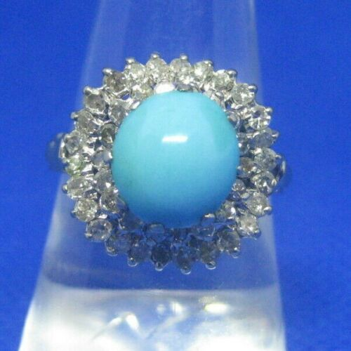 18K White Gold Persian Turquoise and Diamond Ring Size 7.5 Tested