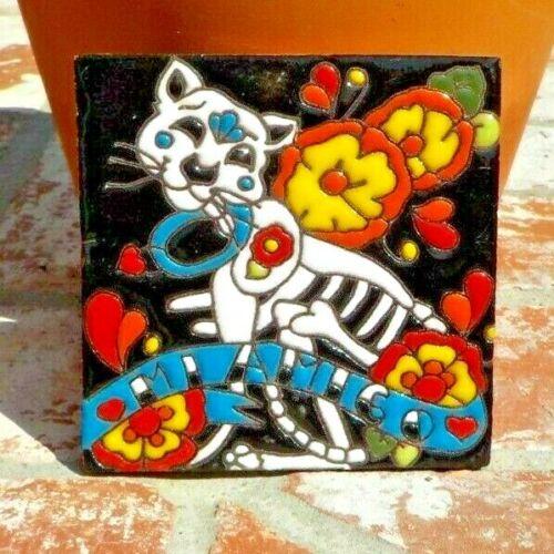DAY OF THE DEAD CAT EL GATO MI AMIGO RED CLAY TILE 4 IN x 4 IN TALAVERA MEXICO