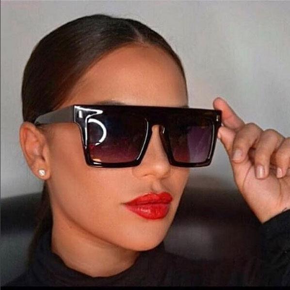 Aviator Vintage Sunglasses Black Rectangular Flat Top Men Wo