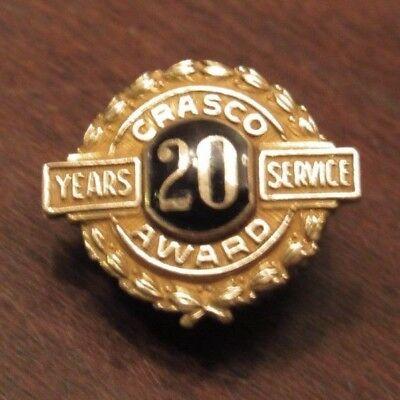 Vintage Crasco Alloy 20 Year Employees Screwback Pin - Detroit, MI Michigan