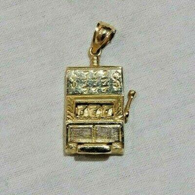 Vintage 14K Yellow Gold Slot Machine Casino Gambling Lucky 777 Charm or...