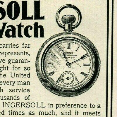 1902 Ingersoll Dollar Pocket WATCH Little Boy Straw Hat ORIGINAL Paper Ad 4366