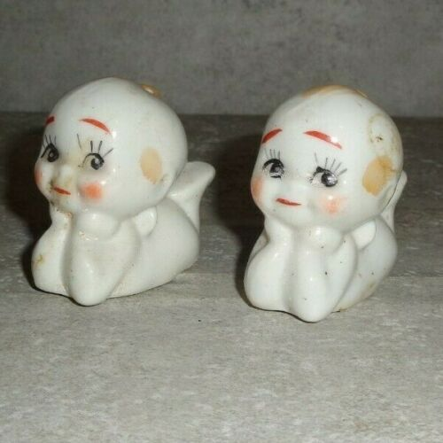 ANTIQUE 2 INCH TALL LYING BABIES SALT AND PEPPER SHAKERS (JAPAN) *
