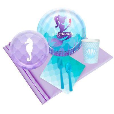 Mermaid Birthday Party Tableware Set; Under the Sea theme; Mermaid baby shower p