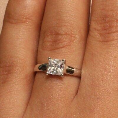 18K White Gold Diamond Princess Cut Engagement Wedding Ring 1 Carat Size 7