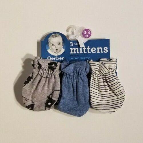 New Gerber 3 Pack Baby Boy No Scratch Mittens Gloves 0-3 Months Raccoon blue