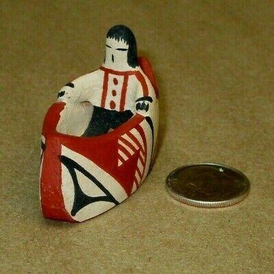Vintage Jemez Pottery by Chinana - Miniature Canoe with Rider