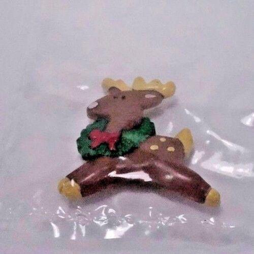 Reindeer Wearing Wreath Christmas Pin