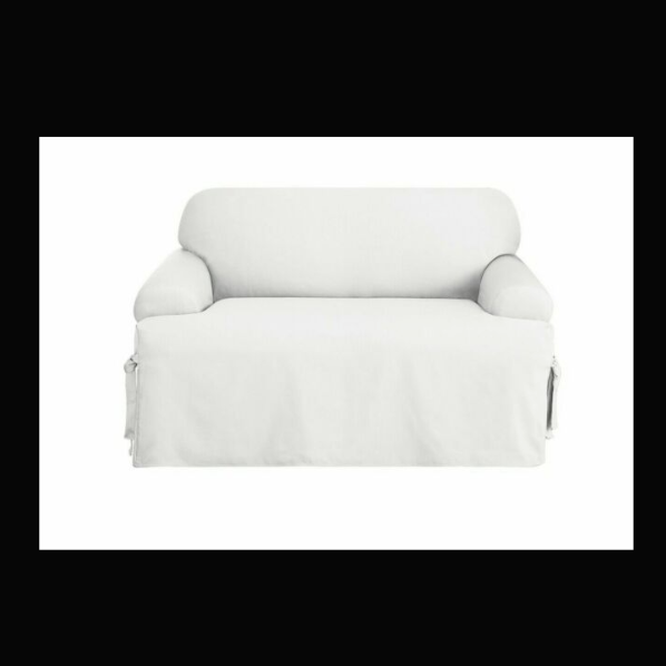 NEW Cotton Duck t-cushion SOFA Slipcover White Sure Fit couc