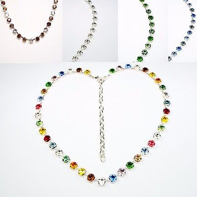 Damen Halskette Collier Tennis Swarovski Kristalle Blau Grün Weiß Bunt Farbwahl